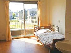 居室(洗面台、トイレ、クローゼット、ベランダ、電動ベッドを完備)